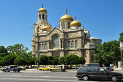 The Assumption Cathedral in Varna. VARNA, BULGARIA - JULY, 15:The Cathedral of the Assumption of the Virgin on July, 15 2012 in Varna, Bulgaria. Built in the Royalty Free Stock Photography
