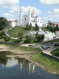 Assumption cathedral in Vitebsk, Belarus. View from the river to the Assumption Cathedral in Vitebsk Stock Image