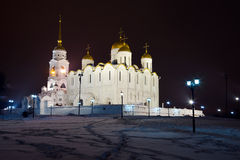 Assumption cathedral  at Vladimir. In winter night(Russia Royalty Free Stock Photo