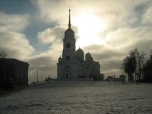 Assumption cathedral, Vladimir. White stone Church typical for Russia Church of the 13th century Stock Images