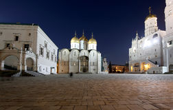 Assumption Cathedral was the site of coronation of Russian tsars at night. Cathedral Square, Inside of Moscow Kremlin, Russia. Royalty Free Stock Photography