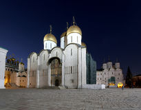 Assumption Cathedral was the site of coronation of Russian tsars at night. Cathedral Square, Inside of Moscow Kremlin, Russia. Stock Image