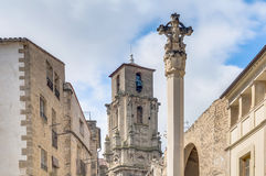 Assumption church bell tower at Calaceite, Spain. Assumption church bell tower at Calaceite in Teruel, Spain's Aragon Province Royalty Free Stock Photography