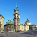 Assumption Church and Dominican Church in Lviv Royalty Free Stock Photography