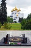 Assumption Church and eternal flame war memorial in Yaroslavl, Russia. Stock Photography
