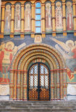 Assumption church facade. Moscow Kremlin. Assumption church facade decorated by old religious painting. Moscow Kremlin. UNESCO World Heritage Site. Taken on Stock Photos