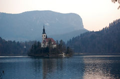 Assumption Church,on the lake Bled, Slovenia Stock Images
