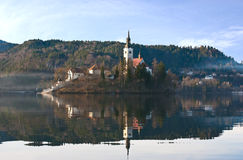 The picturesque island on Bled lake Stock Photography
