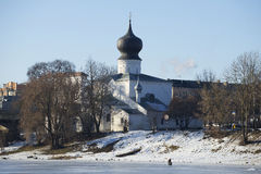 Assumption Church sunny february day. Pskov Royalty Free Stock Images