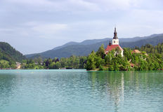 Assumption of Mary Pilgrimage Church and Bled lake, Slovenia Stock Images