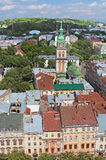 Assumption Orthodox Church and Lviv cityscape, Ukraine Royalty Free Stock Photo