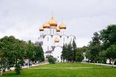 Assumption (Uspensky) Cathedral in Yaroslavl. Golden ring of Rus Stock Photo