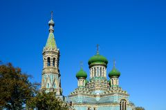 Assumption Uspenskyi Cathedral of Bila Krynytsia Old Believer,. Ukraine. Religious buildings Orthodox Old-Rite Church, Old-ritualist temple royalty free stock photo