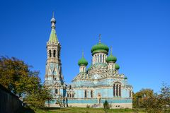 Assumption Uspenskyi Cathedral of Bila Krynytsia Old Believer,. Ukraine. Religious buildings Orthodox Old-Rite Church, Old-ritualist temple stock photo