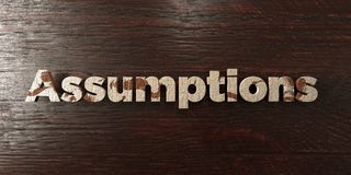 Assumptions - grungy wooden headline on Maple  - 3D rendered royalty free stock image. This image can be used for an online website banner ad or a print Royalty Free Stock Photos