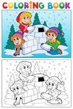 Assunto 4 do inverno do livro para colorir ilustração stock