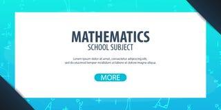 Assunto da matemática De volta ao fundo da escola (EPS+JPG) Bandeira da educação Foto de Stock Royalty Free