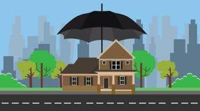 Assurance à la maison avec la protection de parapluie Photo stock