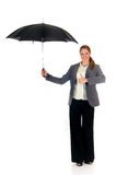 Assurance agent umbrella. Attractive young businesswoman, assurance agent with umbrella. studio shot stock images