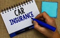 Assurance auto des textes d'écriture de Word Concept d'affaires pour l'homme complet de garantie de véhicule à moteur de politiqu image libre de droits