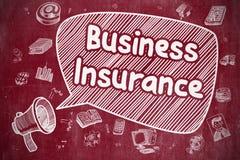 Assurance commerciale - illustration de bande dessinée sur le tableau rouge illustration stock