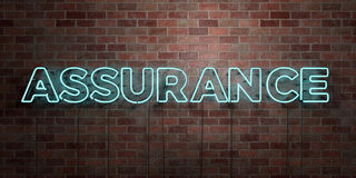 ASSURANCE - fluorescent Neon tube Sign on brickwork - Front view - 3D rendered royalty free stock picture. Can be used for online banner ads and direct mailers Stock Photo