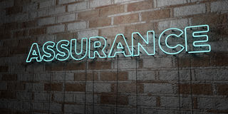 ASSURANCE - Glowing Neon Sign on stonework wall - 3D rendered royalty free stock illustration. Can be used for online banner ads and direct mailers Royalty Free Stock Images