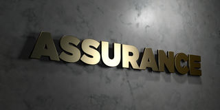 Assurance - Gold text on black background - 3D rendered royalty free stock picture Royalty Free Stock Images