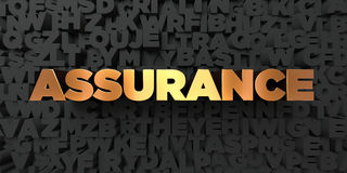 Assurance - Gold text on black background - 3D rendered royalty free stock picture. This image can be used for an online website banner ad or a print postcard Stock Image