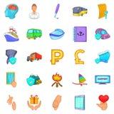 Assurance icons set, cartoon style Royalty Free Stock Images
