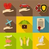 Assurance icons set, flat style Royalty Free Stock Photos
