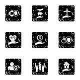 Assurance icons set, grunge style Royalty Free Stock Photo
