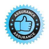 Assurance label. Vector illustration of assurance label with thumbs up sign. stamp or seal on isolated white background royalty free illustration