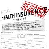 Assurance médicale maladie avec le tampon en caoutchouc rejeté par rouge Photo stock