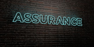 ASSURANCE -Realistic Neon Sign on Brick Wall background - 3D rendered royalty free stock image Stock Photo