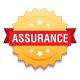 Assurance seal. Vector illustration of assurance seal golden star on isolated white background royalty free illustration