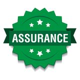 Assurance seal. Vector illustration of assurance seal green star on isolated white background vector illustration