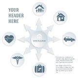 Assurance-service-concept-sur-blanc-fond-gris-texte-carte Photos stock