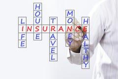 Assurance-vie d'écriture d'homme d'affaires, assurance de maison, insur à la maison Image stock