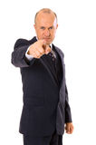 Assured businessman pointing at you. Isolated on white Royalty Free Stock Photography