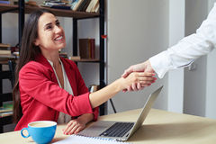 Assured businesswoman shaking mans hand Stock Photos