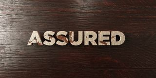Assured - grungy wooden headline on Maple  - 3D rendered royalty free stock image. This image can be used for an online website banner ad or a print postcard Stock Photo