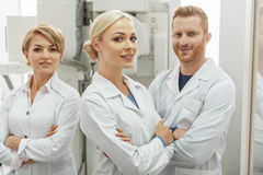 Assured happy doctors working together Stock Photos