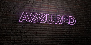 ASSURED -Realistic Neon Sign on Brick Wall background - 3D rendered royalty free stock image. Can be used for online banner ads and direct mailers Stock Image