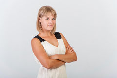 Assured woman. On a white background stock photo