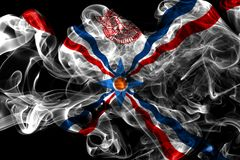 Assyria smoke flag, dependent territory flag. On a black background Royalty Free Stock Photography