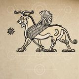 Assyrian chimera winged lion. Background - imitation of old paper. Royalty Free Stock Photo