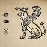 Assyrian chimera winged lion. Background - imitation of old paper. Vector illustration: Assyrian chimera winged lion. Background - imitation of old paper Stock Images