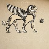 Assyrian chimera winged ram. Background - imitation of old paper. Vector illustration: Assyrian chimera winged ram. Background - imitation of old paper Royalty Free Stock Photos