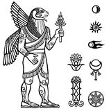 Assyrian deity with a body of the person and the head of a ram. Vector illustration: Assyrian deity with a body of the person and the head of a ram. Full growth Stock Photos